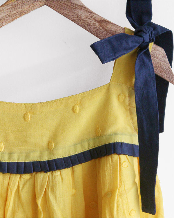 Yellow cami top with shoulder bow details 1