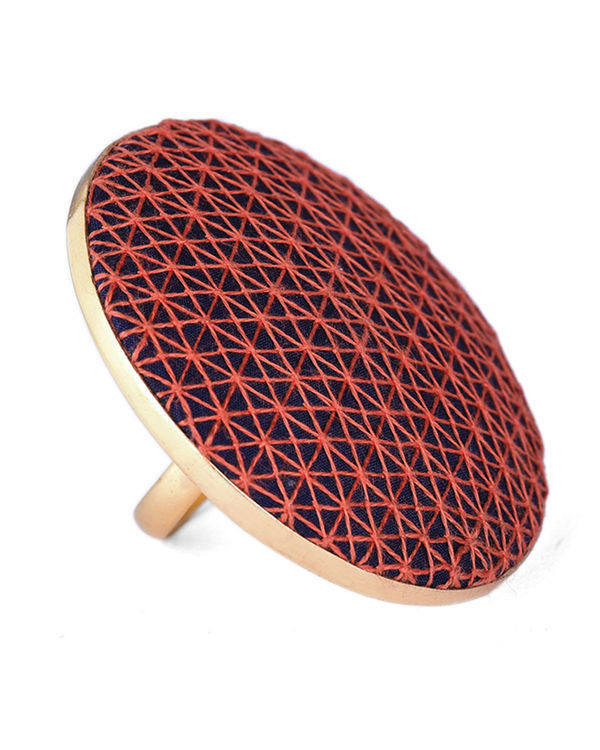 Orange and Dark Blue Cotton Thread Gold Plated Ring 1