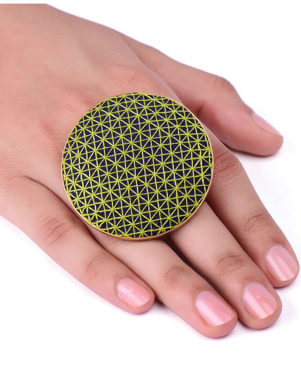 Green and Dark Blue Cotton Thread Gold Plated Ring 2