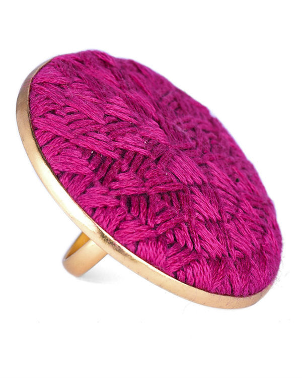 Rani Pink Cotton Thread Gold Plated Ring 1