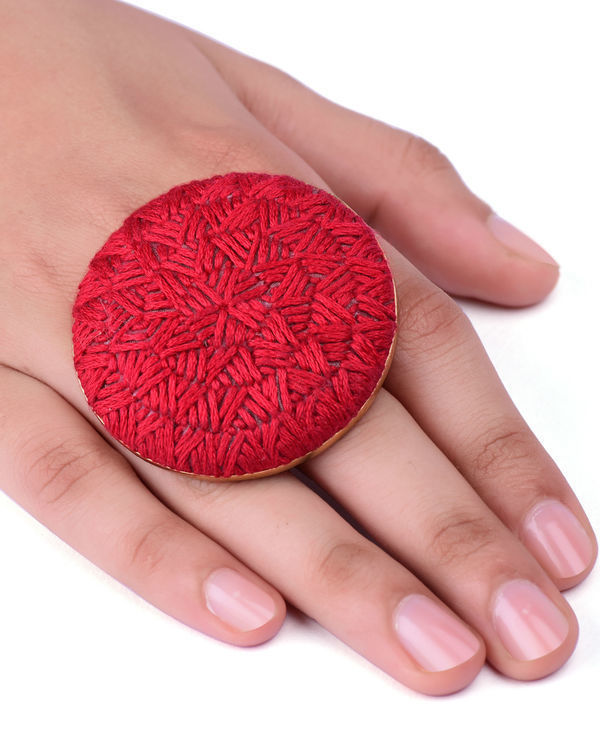 Red Cotton Thread Gold Plated Ring 2