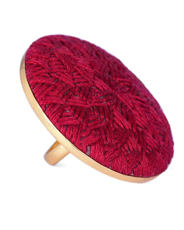 Red Cotton Thread Gold Plated Ring 1