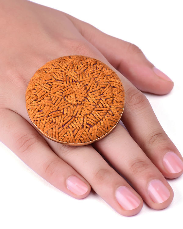 Mustard Cotton Thread Gold Plated Ring 2