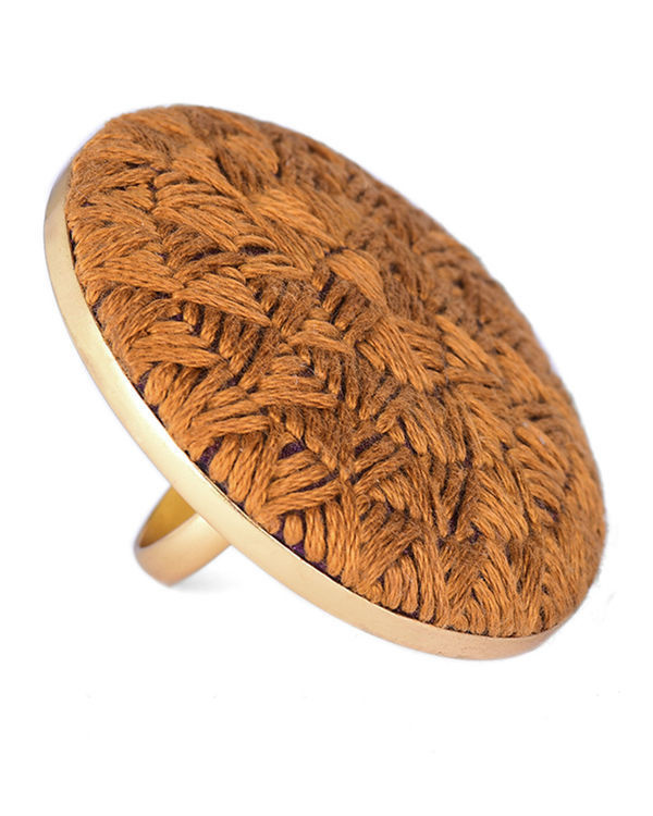 Mustard Cotton Thread Gold Plated Ring 1