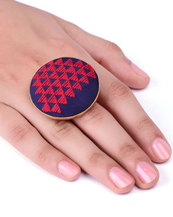 Red and Dark Blue Cotton Thread Gold Plated Ring 2