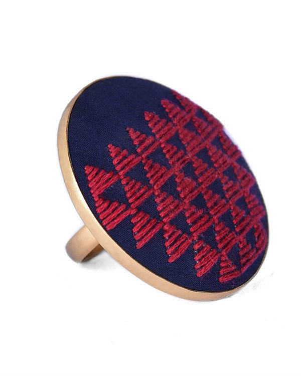Red and Dark Blue Cotton Thread Gold Plated Ring 1