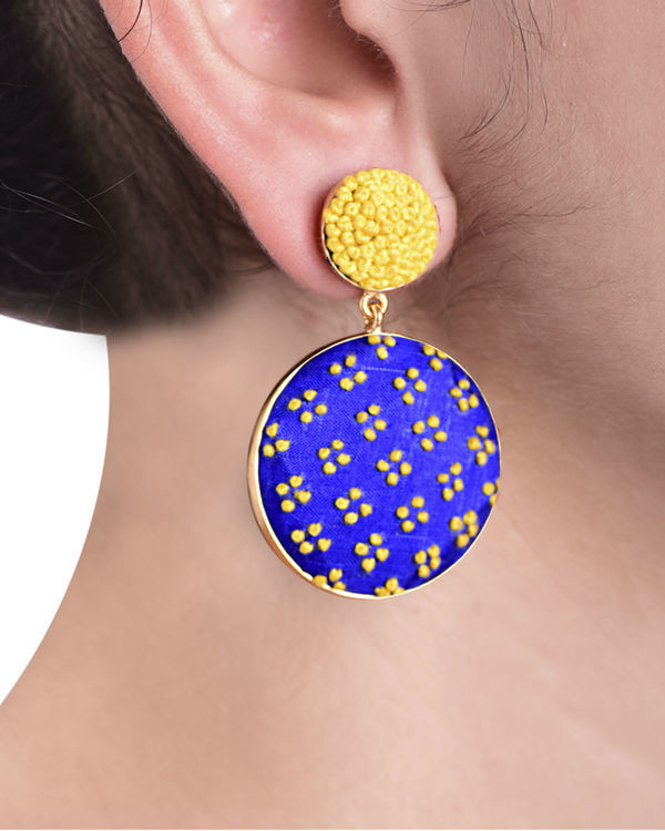 Blue and Yellow Push Back Gold Plated Earrings 1