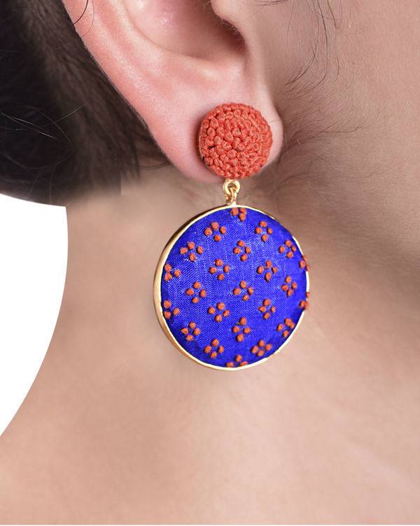 Blue and Orange Push Back Gold Plated Earrings 1