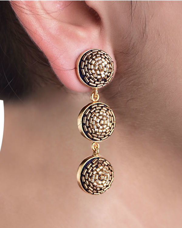 Gold Glass Beads embossed Push Back Earrings 1