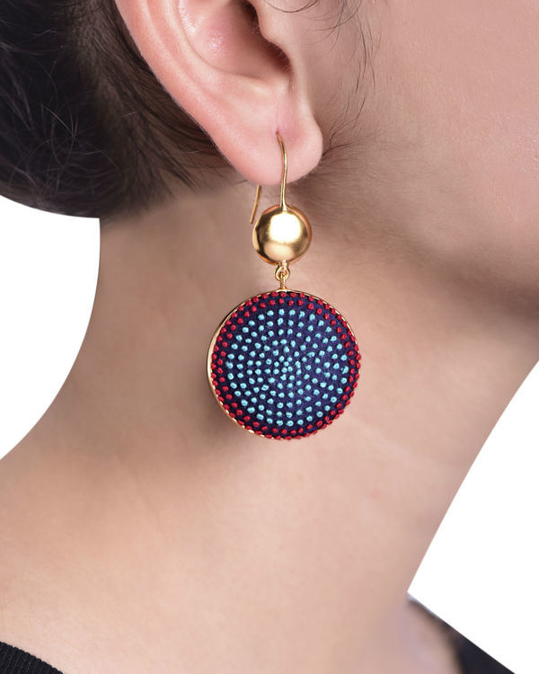 Aqua and Red Cotton Thread Gold Plated Earrings 1