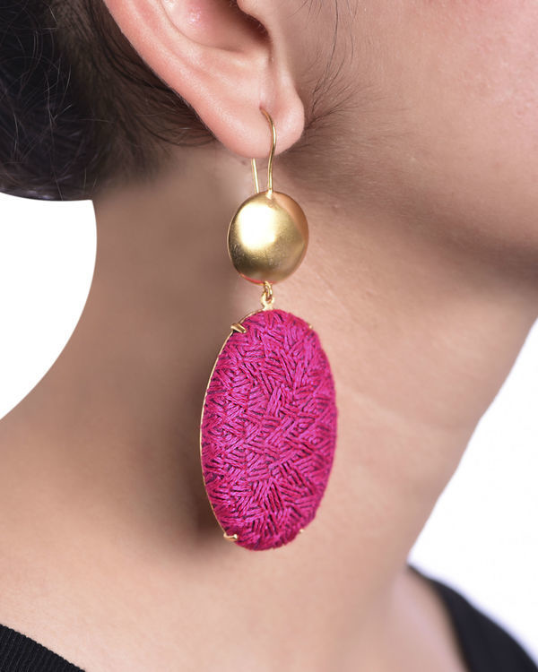 Rani Pink and Gold Oval Gold Plated Earrings 1