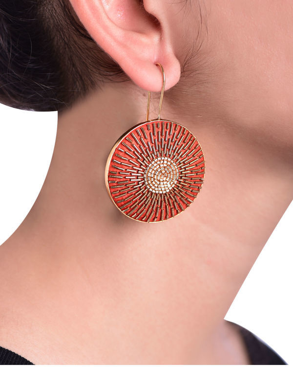 Orange and Gold Round Gold Plated Earrings 1