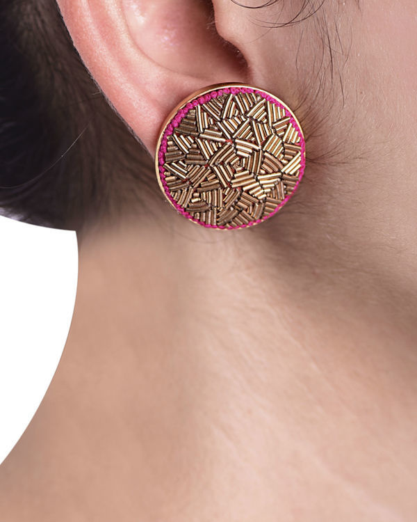 Gold Metal Wire embossed Gold Plated Earrings 1