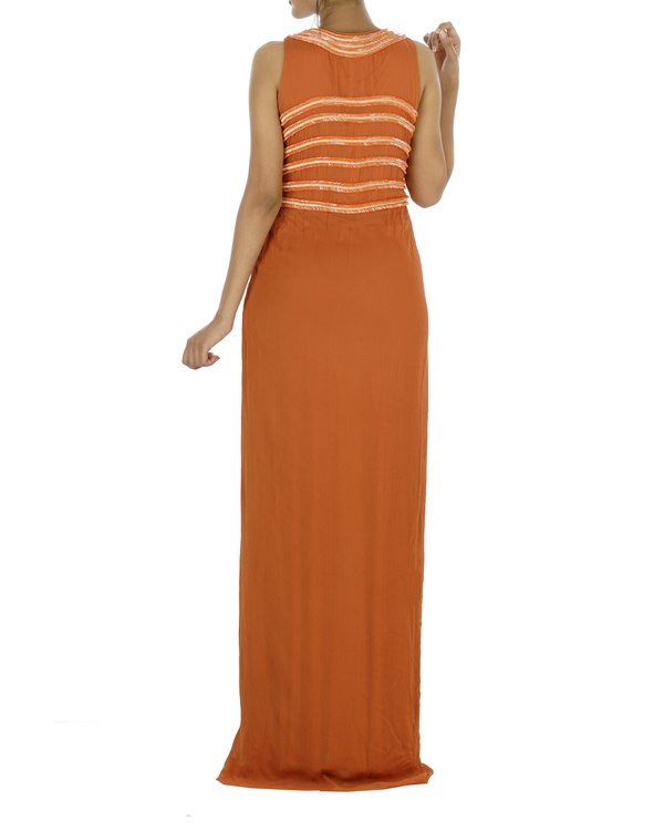 Embroidered orange gown 1