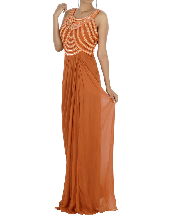 Embroidered orange gown 2