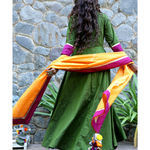Thumb mossgreen long dress and dupatta set 4