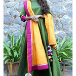 Thumb mossgreen long dress and dupatta set