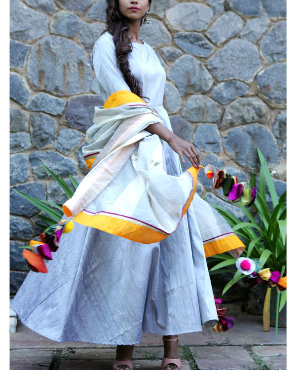 Silver grey dress and dupatta set 2