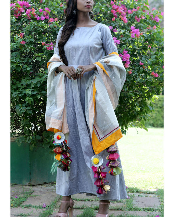 Silver grey dress and dupatta set 1