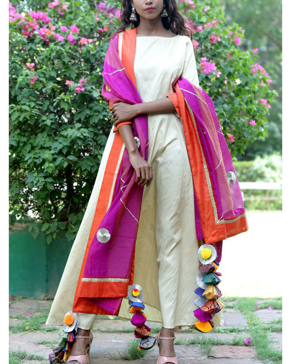 Cream purple dress and dupatta set 1