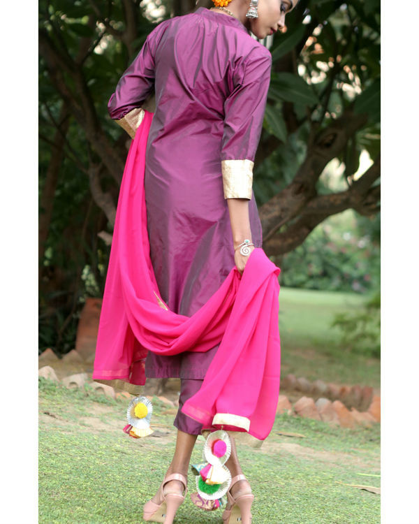 Berry purple silk suit set 3