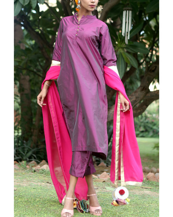 Berry purple silk suit set 1
