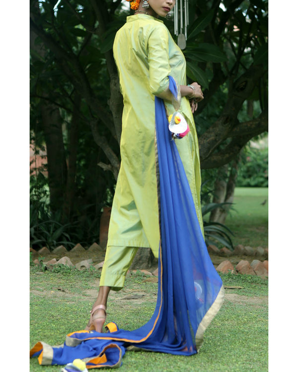 Sweet green silk suit set 3