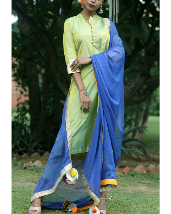 Sweet green silk suit set 1