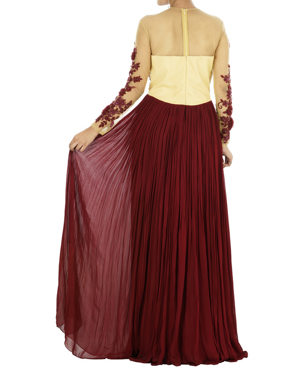 Maroon floral draped gown 1