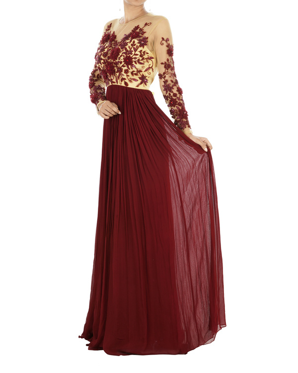 Maroon floral draped gown 2