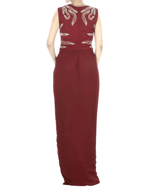 Maroon drapped gown 1
