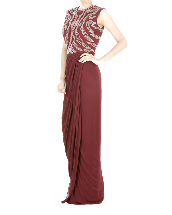 Maroon drapped gown 2