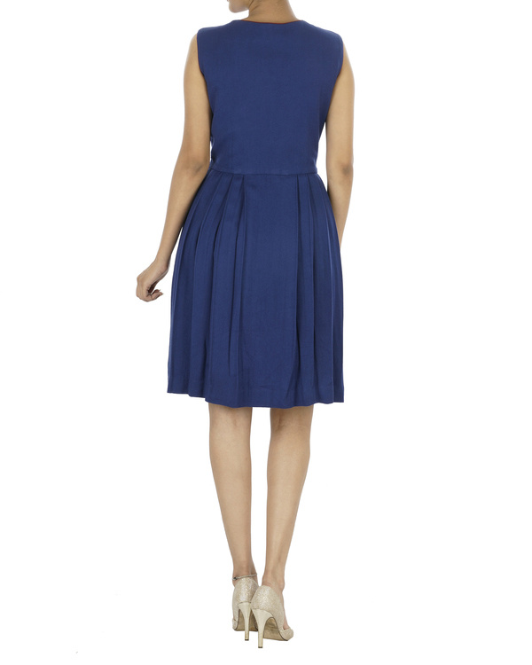 Blue pleated dress 1