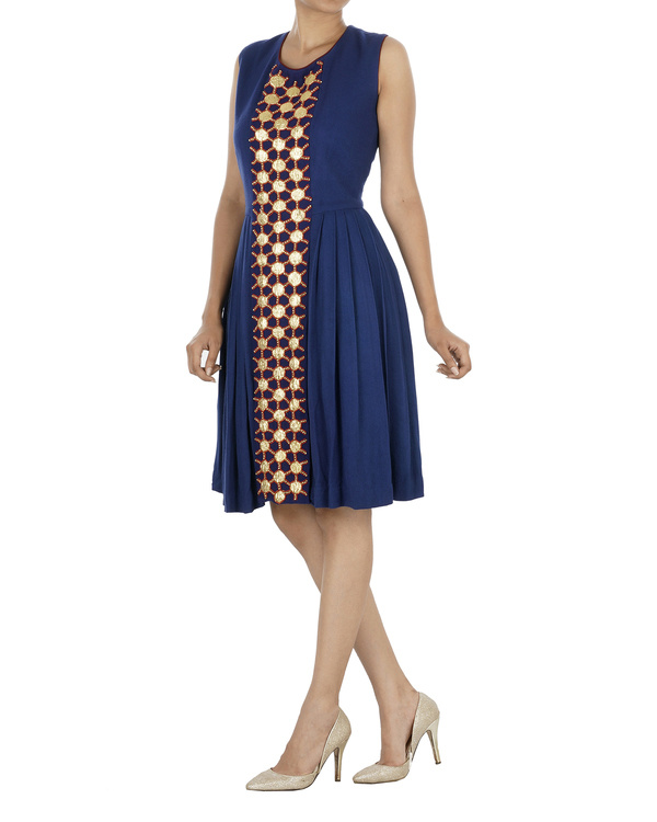 Blue pleated dress 2