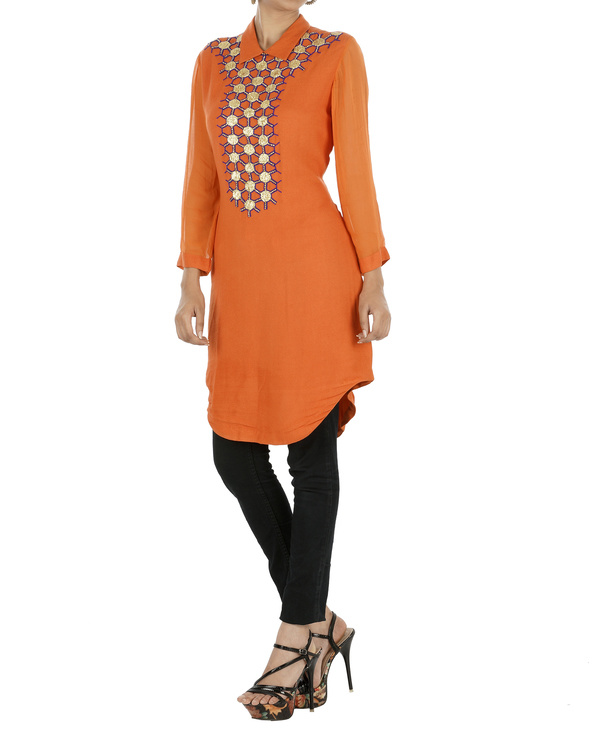 Orange tunic with gota work 2