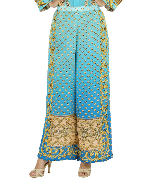 Blue and beige kurta set with palazzo 3