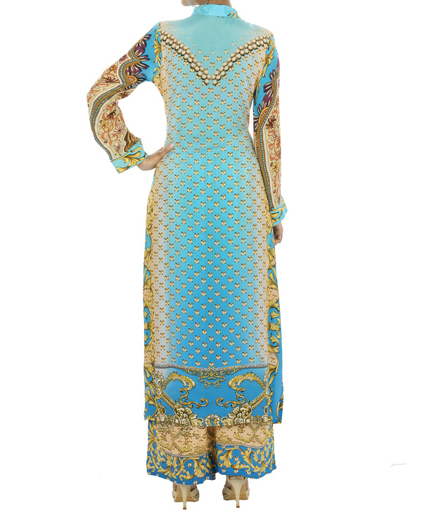 Blue and beige kurta set with palazzo 4