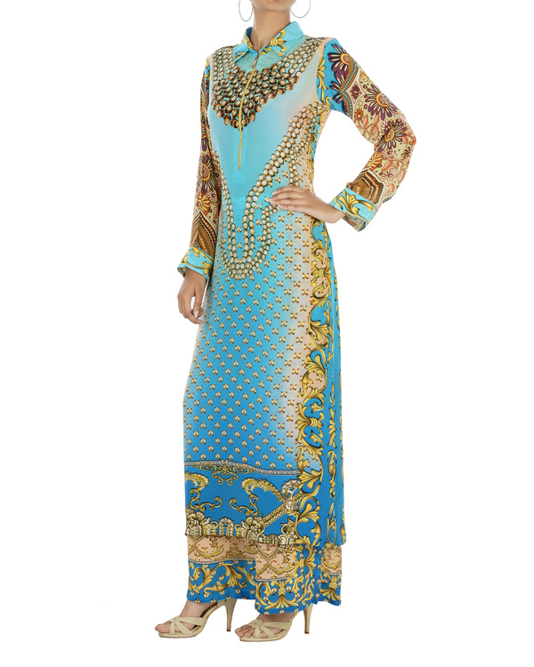 Blue and beige kurta set with palazzo 5