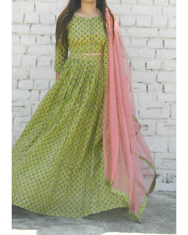 Green block printed lehenga set 2