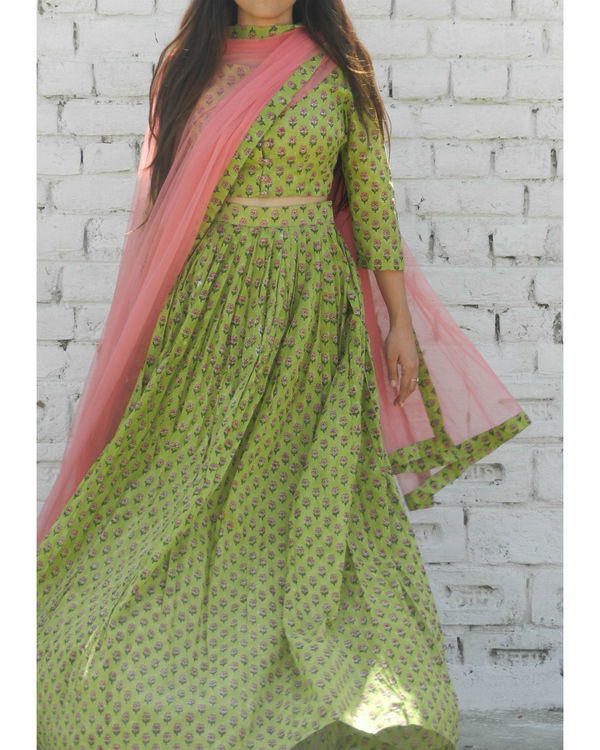 Green block printed lehenga set 1