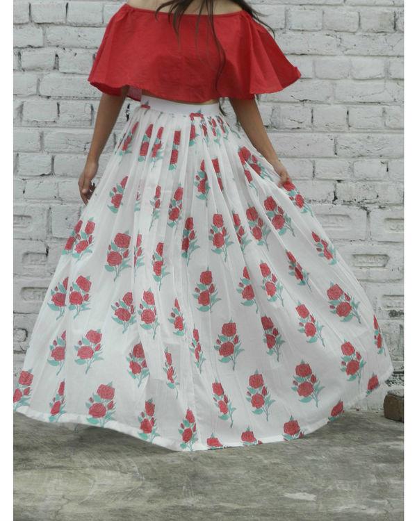 Red off shoulder crop top and rose skirt set 2