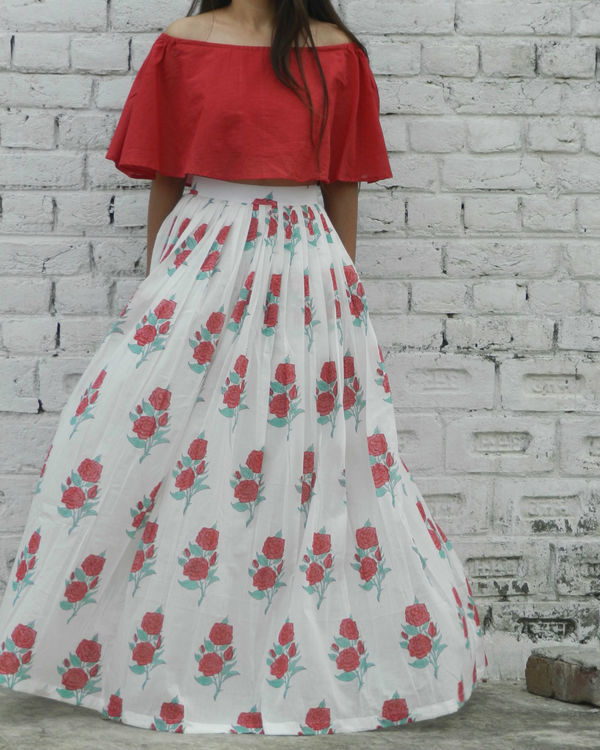 Red off shoulder crop top and rose skirt set 1