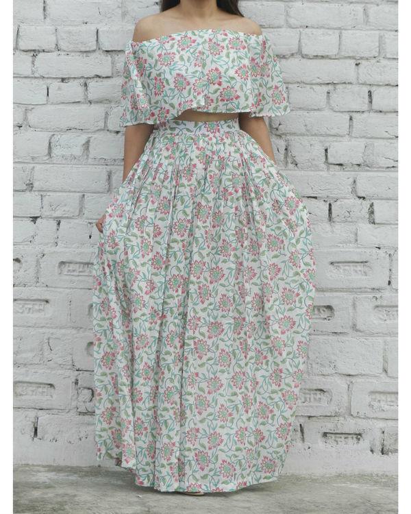 Pink off shoulder top and skirt set 2