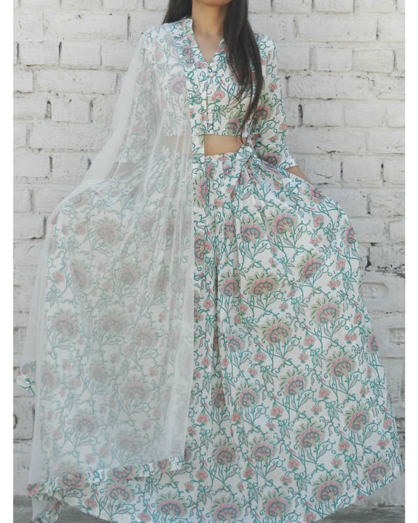 Off white and green lehenga set 3