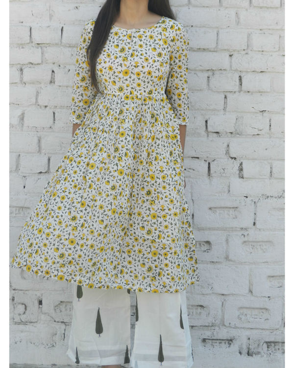 Yellow floral gathered kurta with green leaf palazzo 2