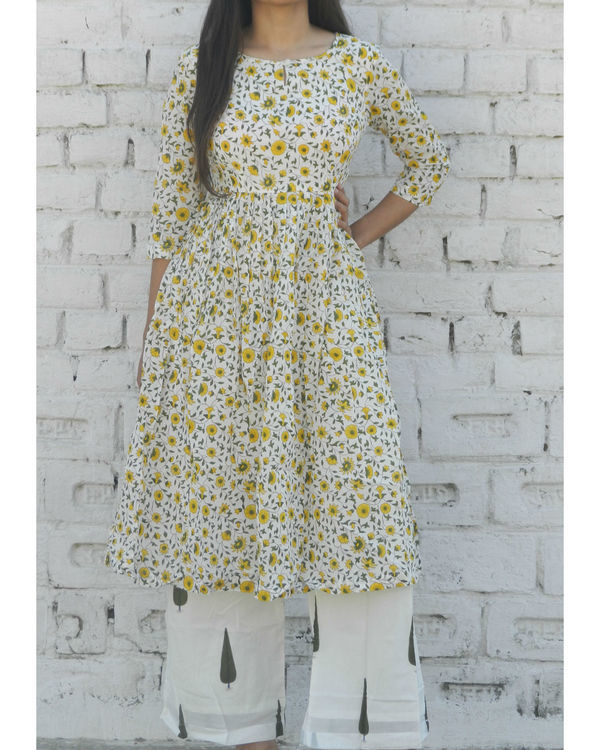Yellow floral gathered kurta with green leaf palazzo 1