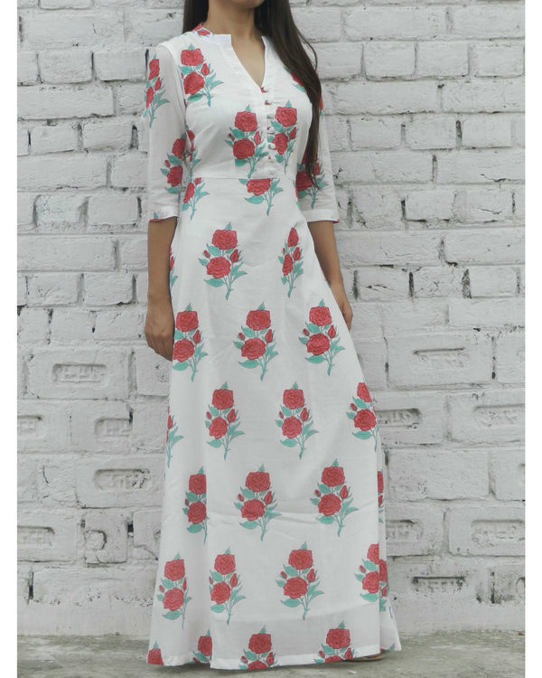 Red rose block printed maxi 3