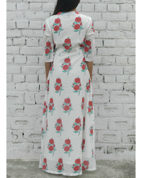 Red rose block printed maxi 2