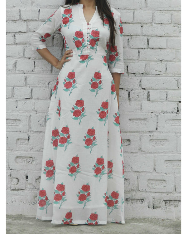 Red rose block printed maxi 1