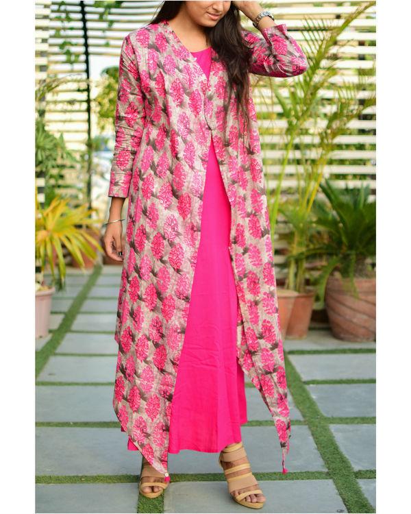 Pink rayon cape dress 2